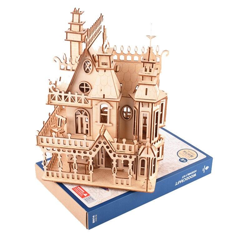 Grand dessin animé bricolage maison modèle 3D Puzzle château jouets pour enfants Intelligence début éducatif Construction modèle cadeau enfants jouets