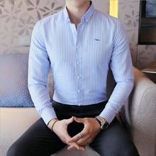 Новинка года, Весенняя Повседневная традиционная Мужская блузка, модные топы с длинным рукавом, в полоску, embroidey, высокое качество, мужские блузки