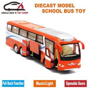 Image 4 - 25 cm Lengte 1 55 Schaal Diecast Metalen Shuttle Bus Model, jongens Gift Legering Speelgoed Met Te Openen Deuren/Muziek/Licht/Pull Back Functie