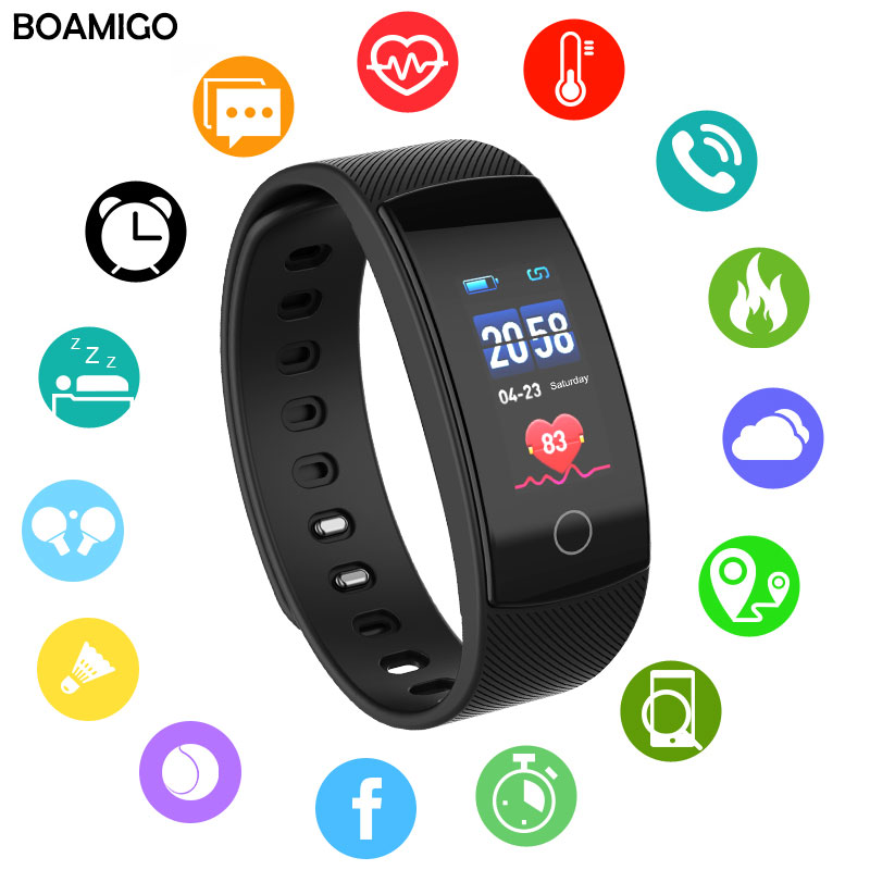 Sleep-Monitoring Fitness-Watch Bluetooth-Heart-Rate Android Phone BOAMIGO Sport Wristband