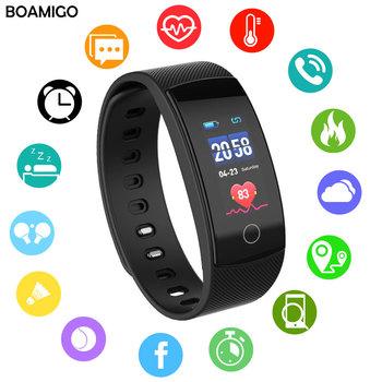 Inteligentne zegarki marki BOAMIGO bransoletka opaska Bluetooth Heart rate przypomnienie Sleep Monitoring dla IOS Android telefon tanie i dobre opinie Digital Wristwatches Sleep Tracker przypomnienie o wywołaniu kompletny kalendarz odporny na wstrząsy wyświetlacz LED fitness tracker przypomnienie wiadomości wyświetlacz tygodnia Bluetooth wodoodporny czujnik tętna tylne światło pływać alarm