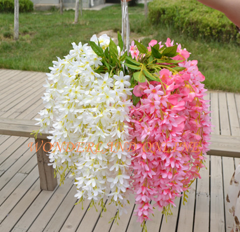 5pcs 8colors Artificial Silk Wisteria Hanging Flower For Diy Wedding