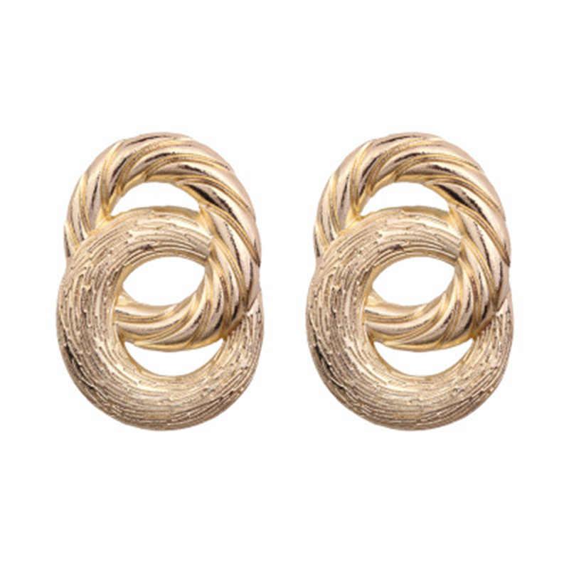 חדש מגיע גדול וינטג לנשים זהב צבע גיאומטרי הצהרת עגיל מתכת חרישת תליית תכשיטים מגמה
