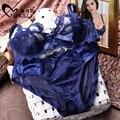 Novo 2017 Moda sexy transparente conjunto de sutiã plus size set intimate laço azul Das Mulheres ultra-fino conjunto de roupa interior das mulheres bralette das