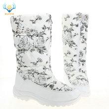白高女性のブーツ女性の白花の靴ジッパーアップ黒のブーツラバーアウトソール暖かい毛皮ビッグ足プラスサイズブランドスタイル