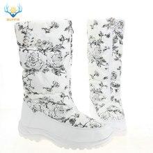 Botas altas blancas para mujer zapatos femeninos de flores blancas con cremallera botas negras suela de goma de piel caliente Pies Grandes de talla grande estilo de marca