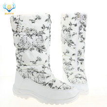 White high women boots female white flower shoes zipper up black boots rubber outsole warm fur big feet plus size brand style