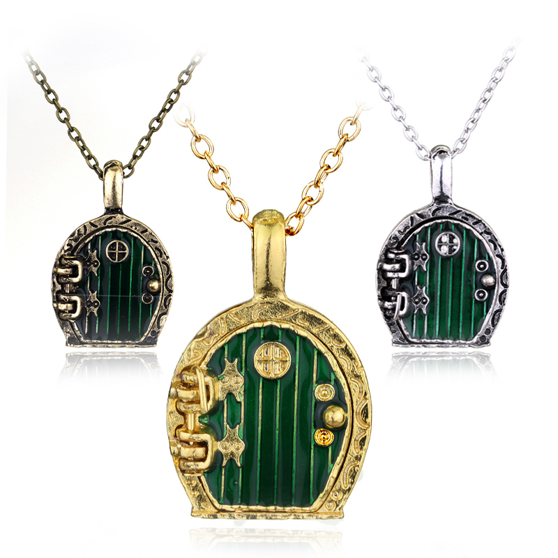 Vintage Charm Lord Of The Rin Gs Green Hobbit Door Locket Pendant Necklace  For Men And