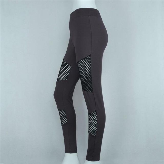Costura Malha oco Sporting Academias Leggings Respirável Sportswear Mulheres Moda Sexy Calças calças Ropa Deporte Mujer 95Z