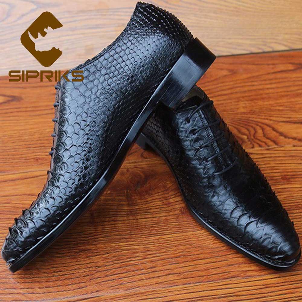 Shoes Men's Shoes Sipriks Whole Cut Plain Oxfords 100% Python Skin Dress Shoes Pointed Lace Up Formal Suits Gents Boss Office Business Shoes 46 47
