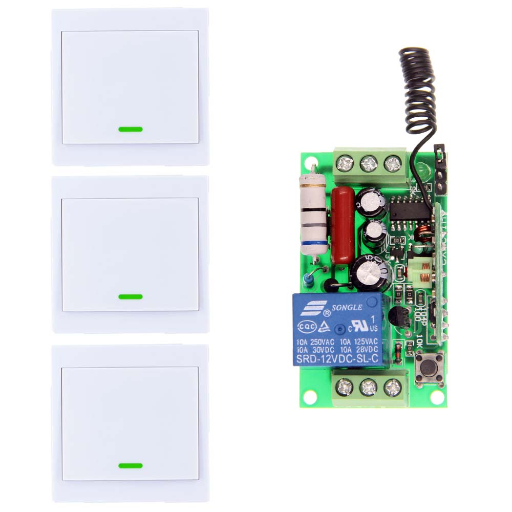10A AC 220V 110V 1 CH 1CH RF Wireless Remote Control Switch System,Receiver +86 Wall Panel Transmitter,315 / 433.92 MHZ ac 220v 1channel 10a rf wireless remote control switch system 4 receiver