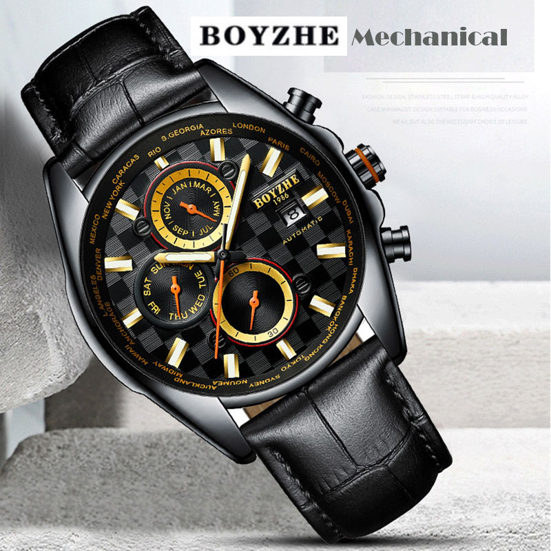 Watch Men Automatic Mechanical Watches Waterproof Sport Luxury Mens Casual Fashion Leather BOYZHE Men Watches Relogio Masculino