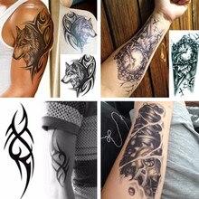 Мужские 3D большие Временные татуировки водонепроницаемые татуировки рукава для мужчин конверсионные татуировки переводные поддельные татуировки флэш-наклейки