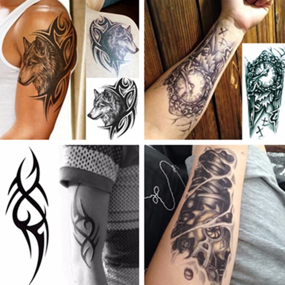 Men 3D Large Temporary Tattoo Waterproof Tattoo Sleeves For Men Conversion Of Tattoos Transferable Fake Tattooing Flash Stickers image