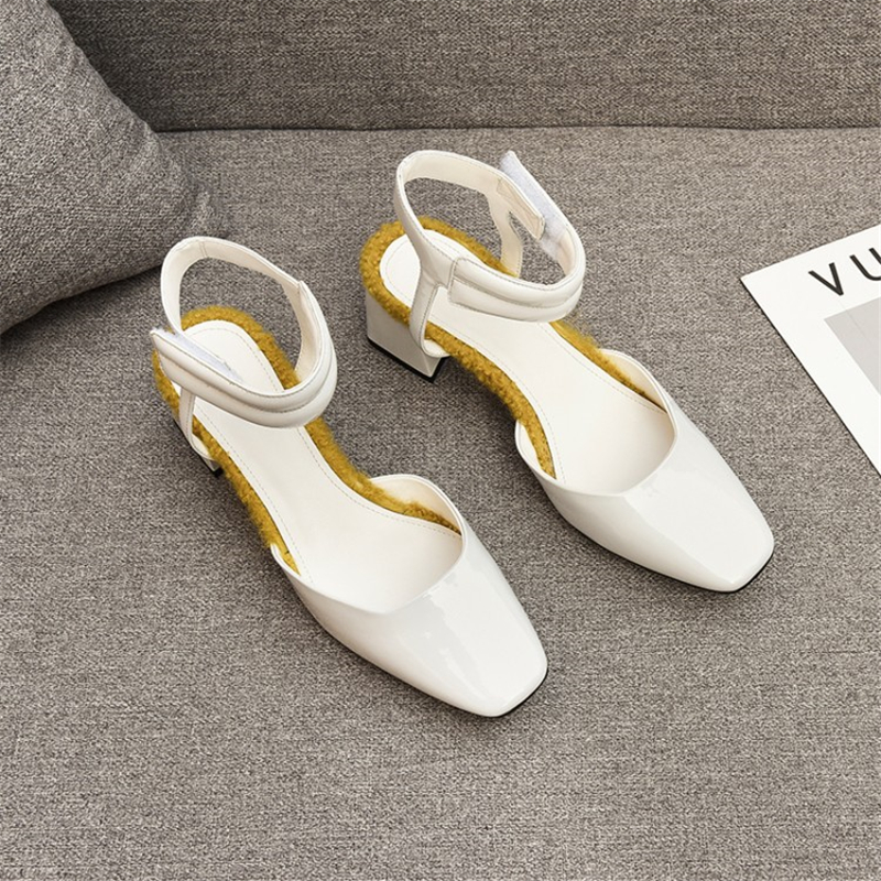 MSSTOR Mixed Colors White Sandals Square Toe Yellow Casual Patent Leather Summer Sandals Fashion Square Heel Sandals High Heels