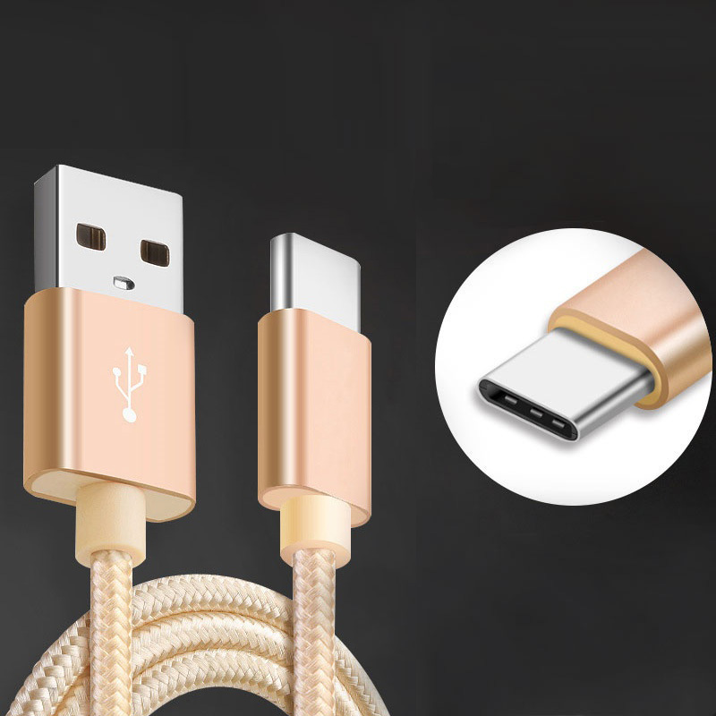 1M Nylon USB Type C Data Sync Charger Cable for Blackberry Motion KEYone DTEK60 Type C USB 3.1 Charging Cable