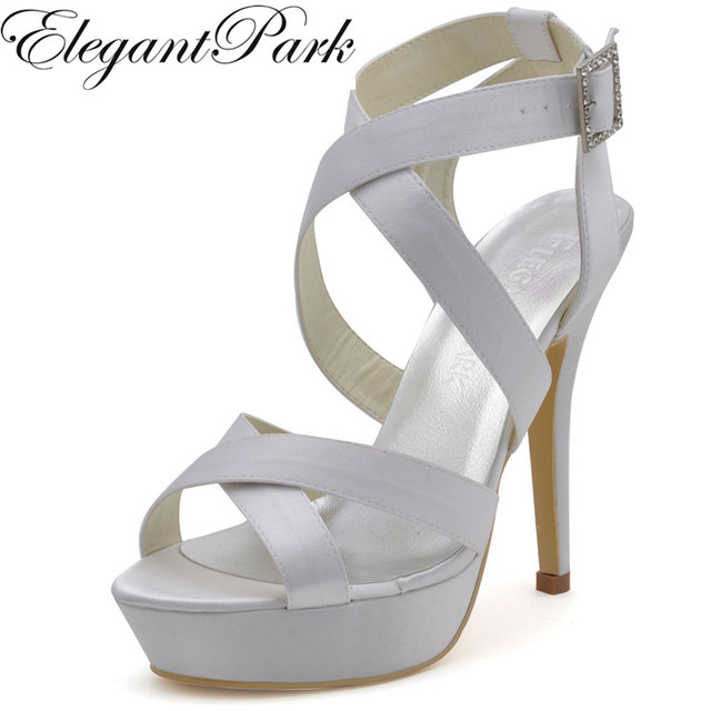 Fashion Wedding Sandals Bridesmaids Shoes Ep2124 Pf White Open Toe Cross Straps Platform Y High