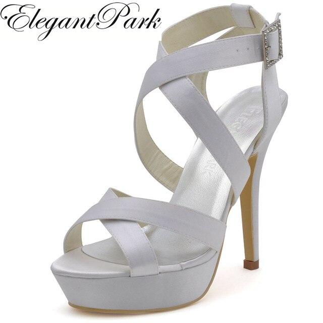 Mode De Mariage Sandales Demoiselles D'honneur Chaussures EP2124-PF Blanc À  Bout Ouvert