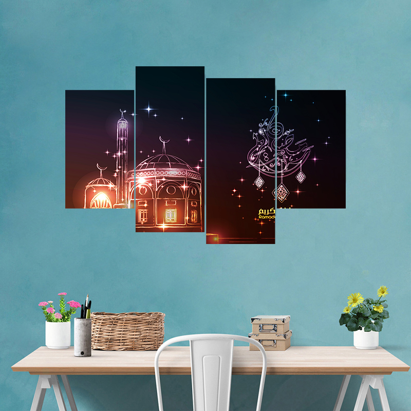 5pcs/set 3D Muslim Style DIY Art Mural Stickers Ramadan Blessings PVC  Poster Wall Decals Home Decor Moon Wallpaper Poster(China)