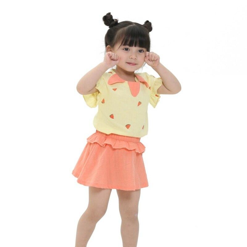 Children's Sets Girls Clothing Set Short Sleeve Top Summer+Skirt Children Clothing Sets Causal Girls Set