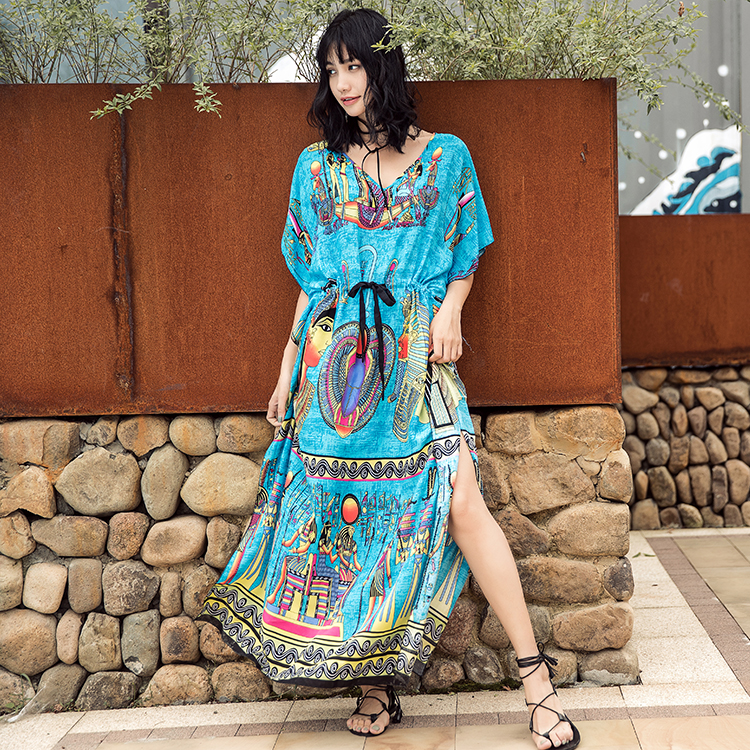Womens Long Sleeve Boho Party Dress 2019 New Fall Spring Ladies Split Long Maxi Dress Loose Beach Holiday Casual Printed Dresses To Win Warm Praise From Customers Dresses