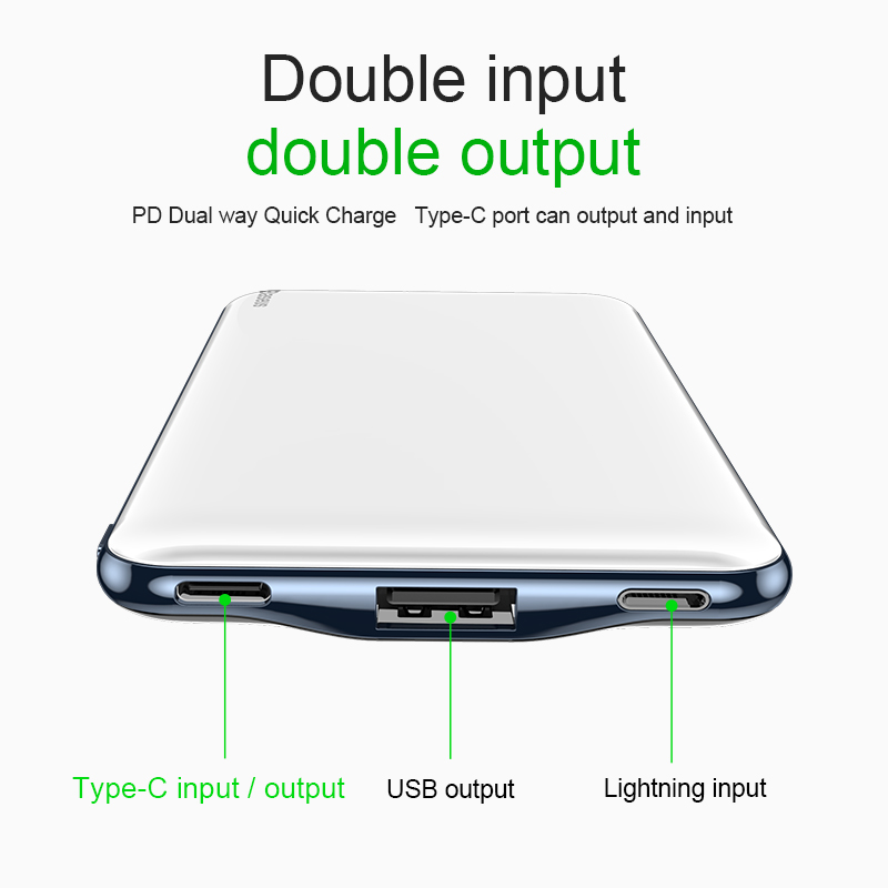 Power bank for iPhone - 10000 mah power bank fast charging 3.0 with USB PD two-way charging 4