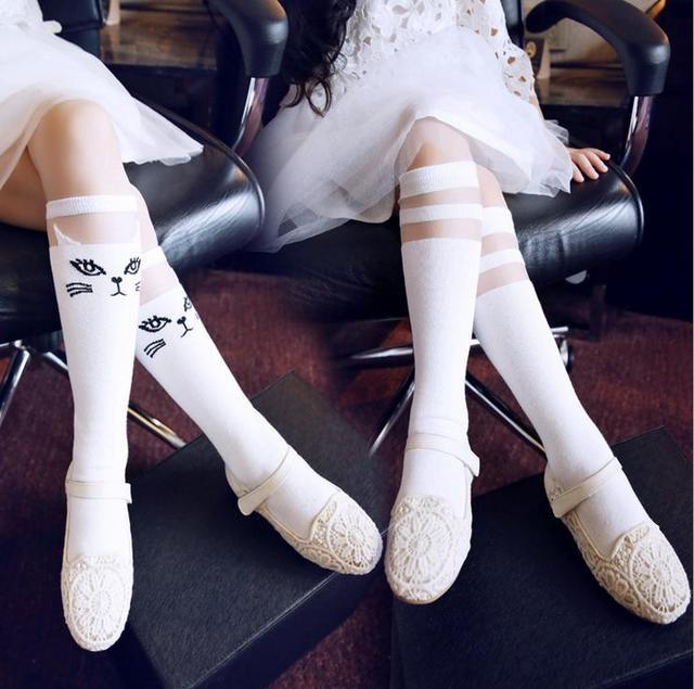 f425d14b8ed Cute 3-8 years old girls cartoon lace stitching mesh princess knee-high  socks children socks 2 pairs lot mix wholesale