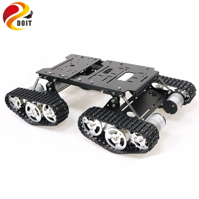 Remote Control 4wd Shock Absorber Robot Tank Chassis Kit  with 4pcs 12V DC Motor Aluminum Alloy Frame for Arduino Chassis DIY