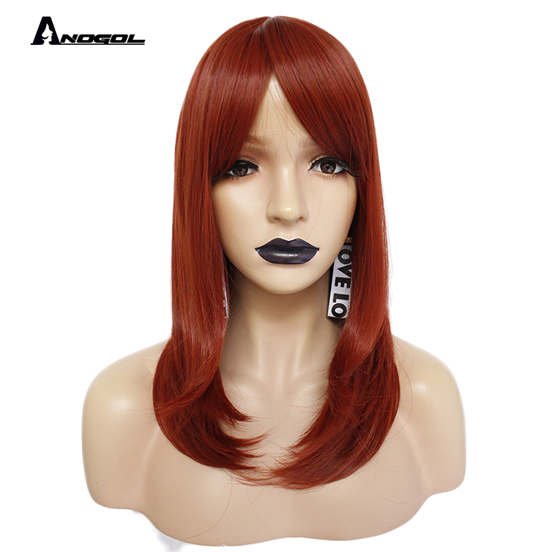 Anogol  150% Density Long Natural Wave Full Hair Wigs Orange Auburn  Synthetic Wig For Adult Role Play With Fringe For Women