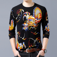 Mens Sweater Cashmere Cotton Dragon Slim Fit Sweater Men Clothes 2018 Autumn Winter Fashion Blouse Man Pullovers High Quality