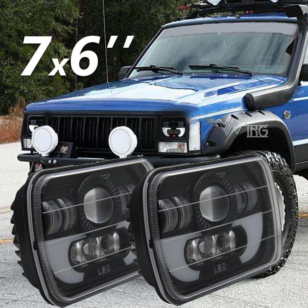 цена на 5*7'' inch 90W Square led headlight 6x7 inch Sealed beam Angel eyes led Driving headlamp for Jeep Cherokee XJ Offroad Trucks