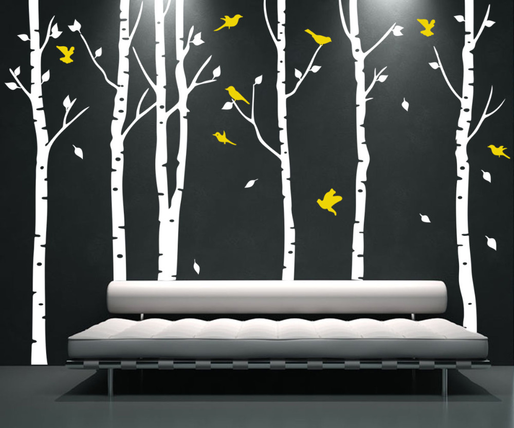 tree u birds vinilo etiqueta de la pared mural room extrable decorativo grande blanco amarillo