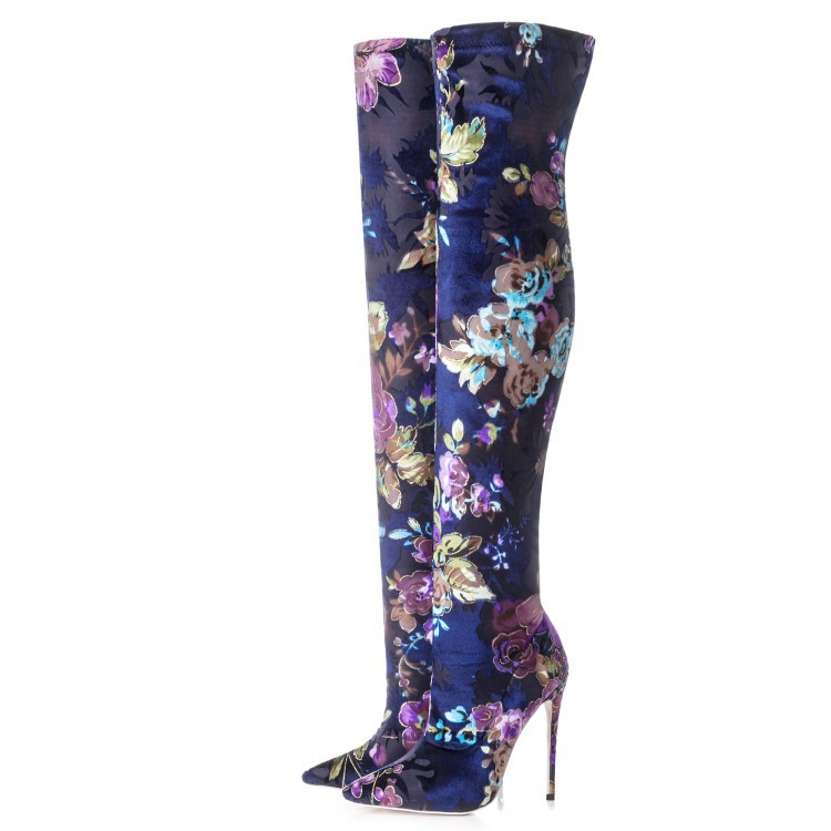 2018 spring autumn high heels flower print slim tight boots for woman over the knee Stretch boots leopard stilettos big size2018 spring autumn high heels flower print slim tight boots for woman over the knee Stretch boots leopard stilettos big size