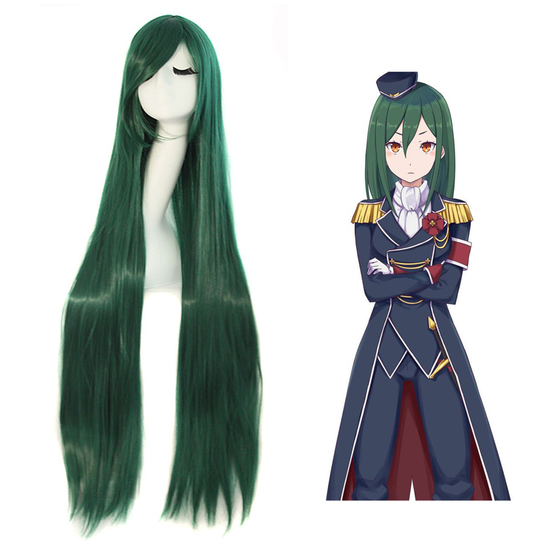 Re:Life in a different world from zero Crusch Karsten 100cm Long Straight Wigs Dark green Anime Costume Cosplay Wig+Wig Cap