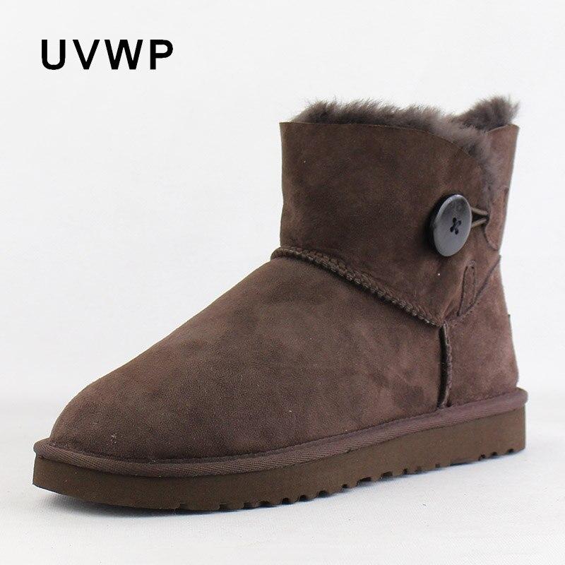 أعلى جودة حقيقية جلد الغنم الشتاء الثلوج النساء الأحذية 100% الطبيعي الفراء الدافئة الصوف الشتاء الأحذية أزياء حذاء من الجلد-في أحذية الكاحل من أحذية على  مجموعة 1