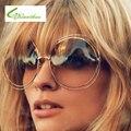 Moldura redonda Mulheres óculos de Sol Da Liga Em Torno Oco Vintage Frame Óculos UV400 Quadro Grande e Colorida de Alta Definição Eyeware