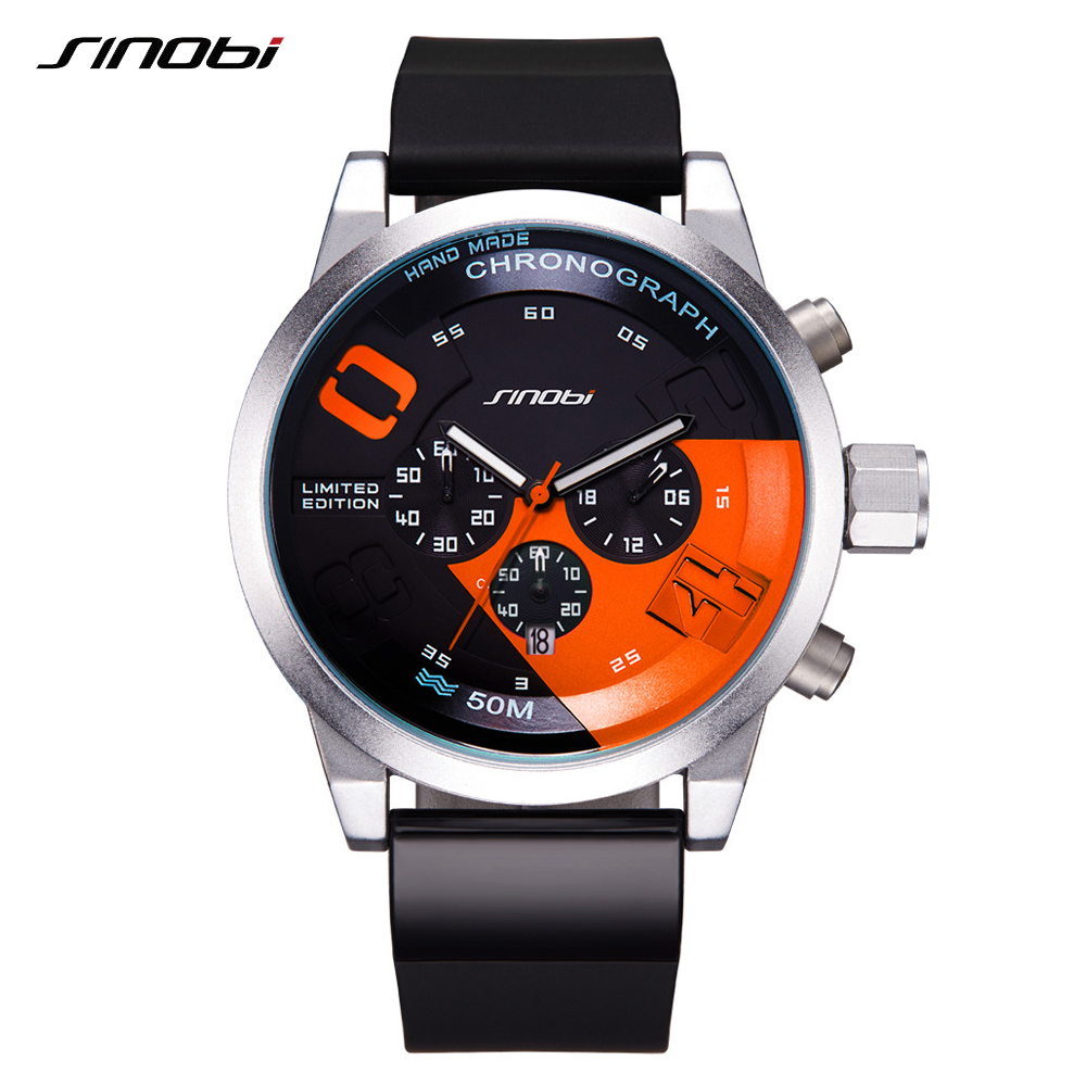 SINOBI Large Dial Design Men Watches Men s Chronograph Sport Mens Watch Military Waterproof Watch Male