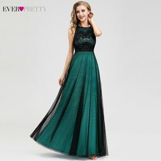 Elegant Dark Green Evening Dresses Long Ever Pretty EZ07965 A-Line Contrast Color Embroidery Lace Formal Dresses Robe De Soiree 4