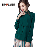 SIMPLISER 2018 ladies tops chiffon blouses for women wear to work bow collar chiffon shirts long sleeve clothings large size