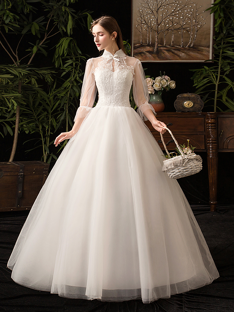 Wedding-Dress Bridal-Gown Robe-De-Mariee Applique Illusion Vintage Sexy Plus-Size High-Neck