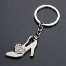 High-Heeled Shoes With Crystal Heart Keychain Women For Car Bag Keychains Key Rings Pendant Jewelry Creative Gift