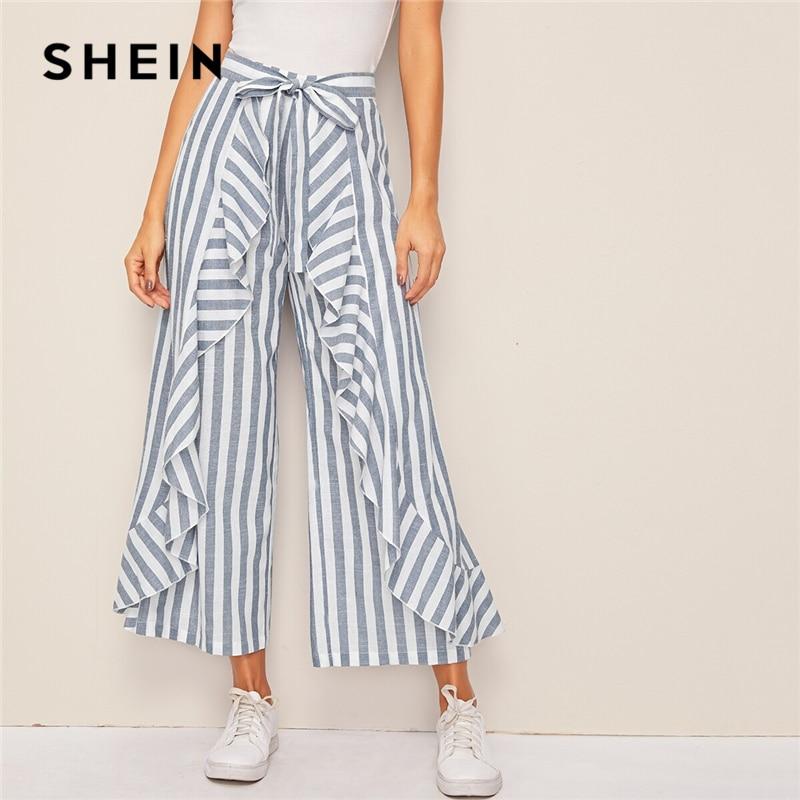 SHEIN Two Tone Ruffle Trim Belted Palazzo Pants Boho High Waist Wide Leg Pants Spring Summer Loose Striped Women Trousers