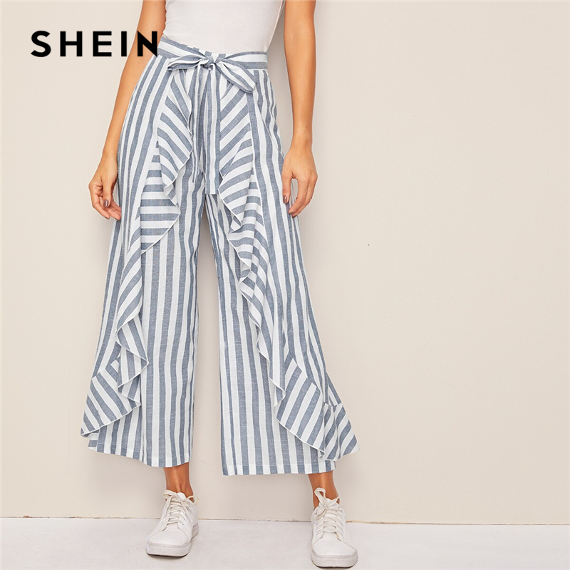SHEIN Two Tone Ruffle Trim Belted Palazzo   Pants   Boho High Waist   Wide     Leg     Pants   Spring Summer Loose Striped Women Trousers