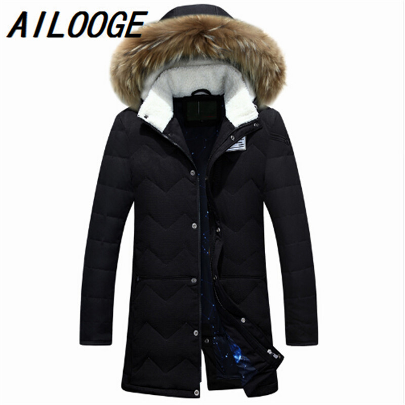Faux Fur Hat Fashion Design Men Thick White Duck Down Jackets and Coat Brand Clothing Down Jacket Men Winter Hooded Coat Outwear