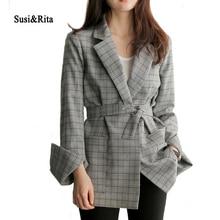 Susi&Rita 2017 Plaid Women Blazer Long Sleeve Belted Ladies Office Blazers And Jackets Autumn Winter Slim Coat Blaser