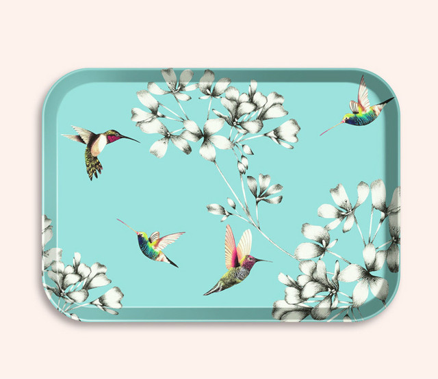 Flat Floral Patterned Serving Tray