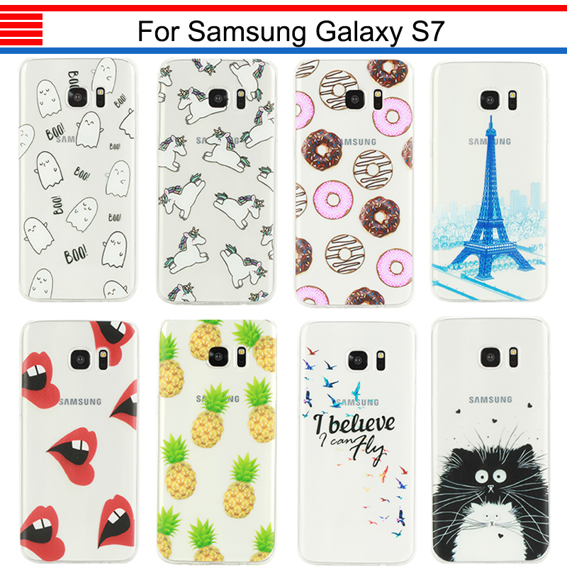 JURCHEN For Samsung Galaxy S7 G9300 G9308 G930F G930A Phone Case Cover Cartoon TPU Soft Case For Samsung Galaxy S7 Case Silicone ...
