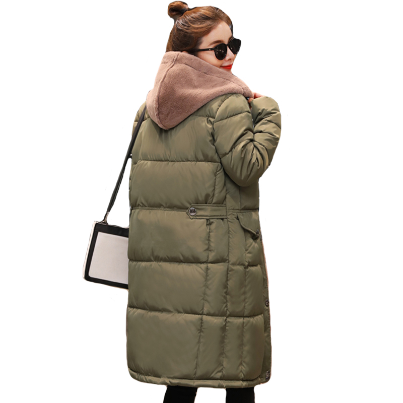 Fashion 2019 New Breasted Buttons Women Winter Jacket Hooded Womens Jackets Outwear Coat Long   Parka   Chaqueta Mujer Invierno