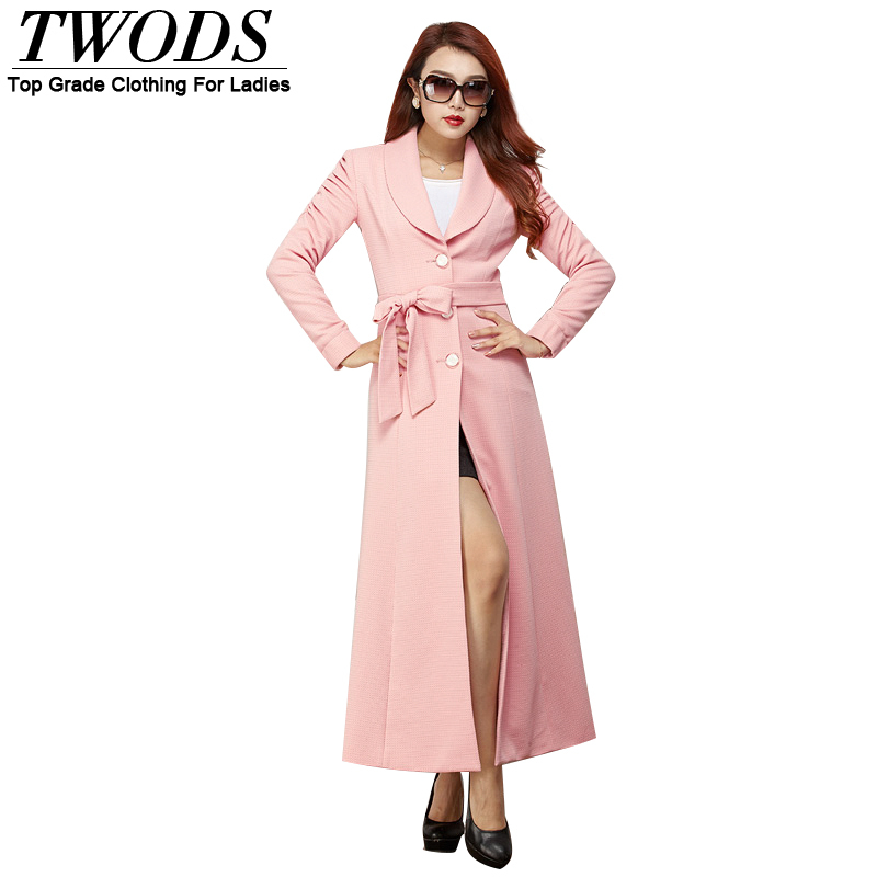 Lovely Twods autumn 2015 women trench coats x long coat pink cute Slim  HV17