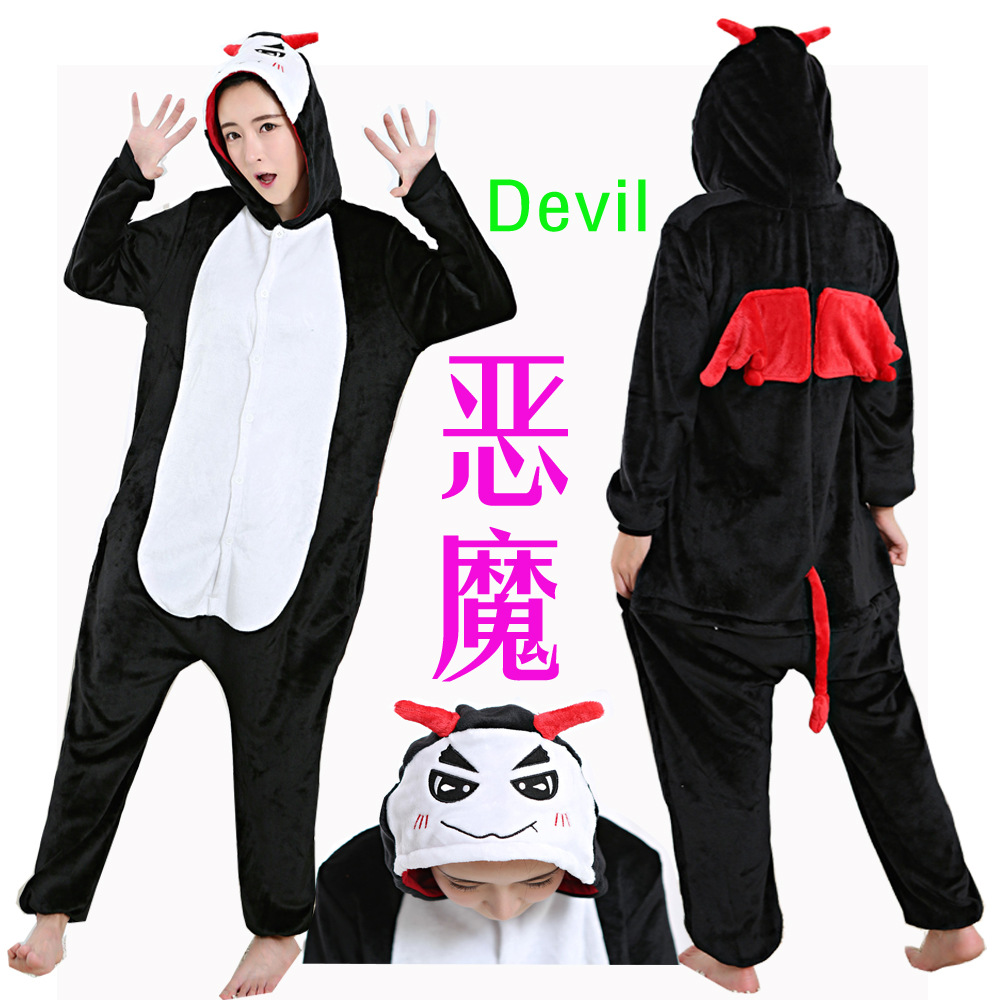 devil Kigurumi Onesies Costumes 2019 Men and women Hooded animal cartoon pajamas blue shark home lovers long sleeve Jumpsuits